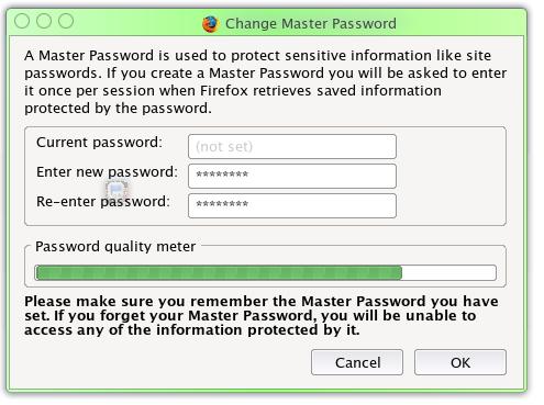 Firefox Master Password entry window