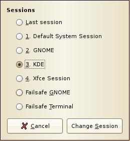 Session choice menu on Ubuntu's GDM