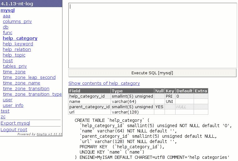 tinyMy MySQL Management Interface