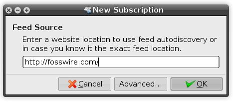 Liferea add subscription window