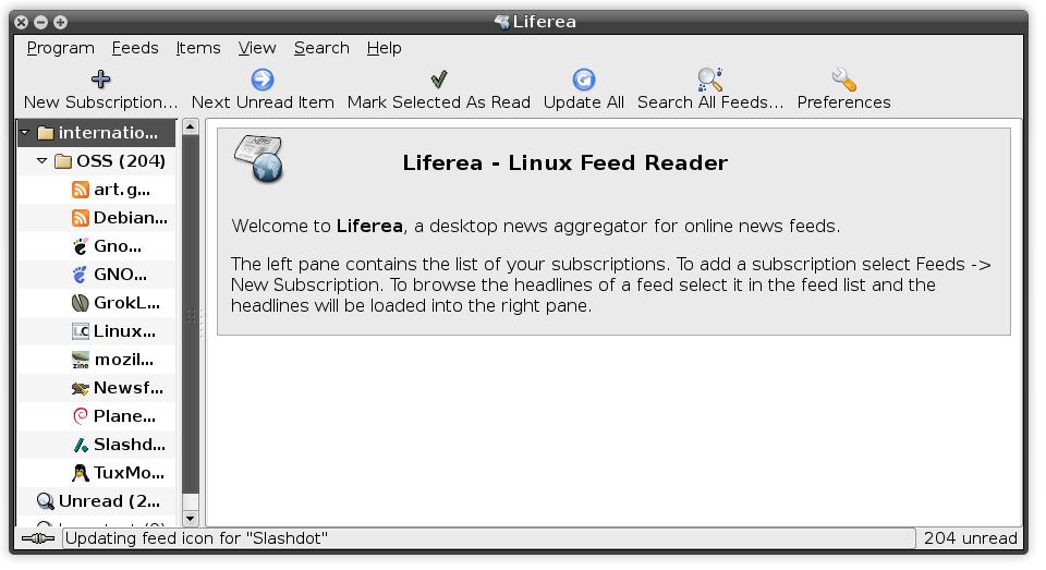 Liferea main screen