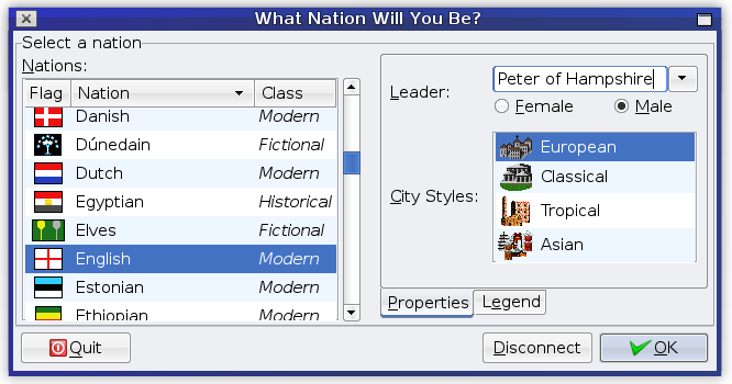 FreeCiv - screenshot of nation select screen
