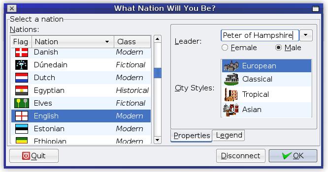 FreeCiv - screenshot of nation select screen