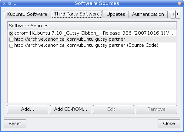 Software Sources dialogue screenshot