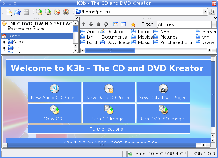 K3B main window screenshot