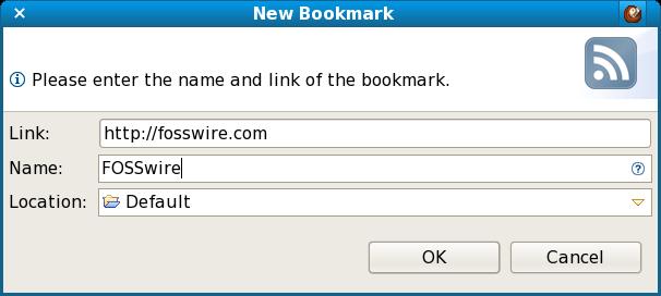 RSSOwl Add Bookmark