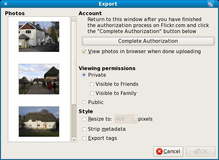 Flickr authorisation in F-Spot