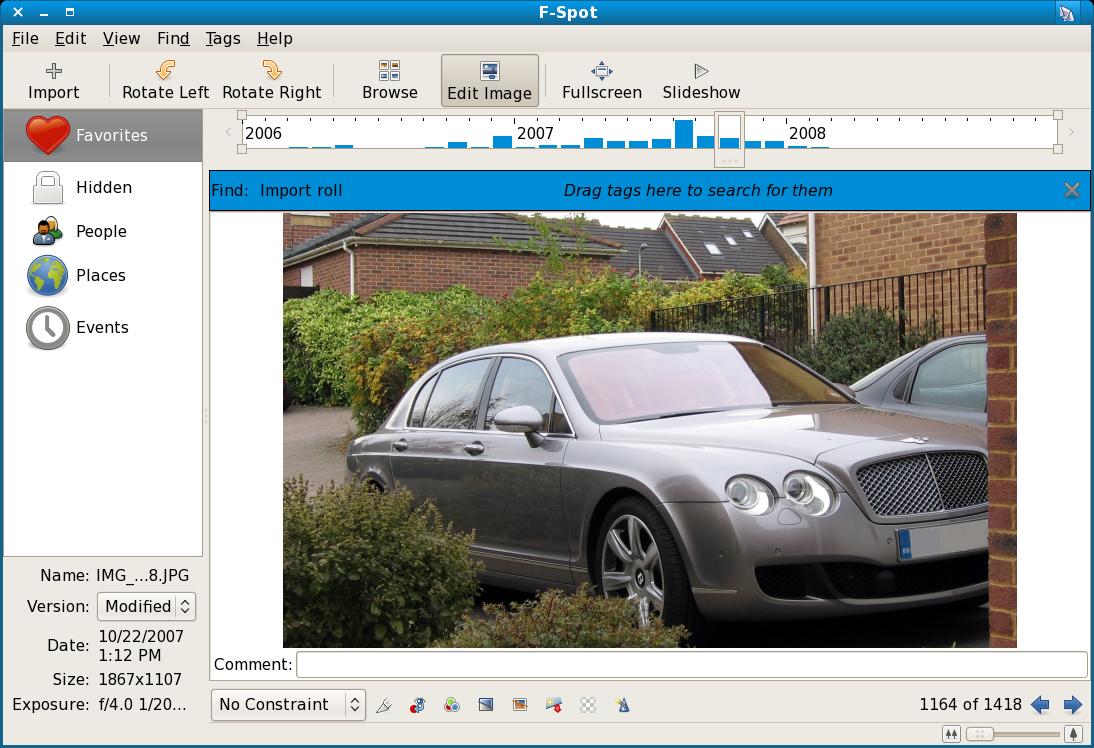 F-Spot edit photo interface