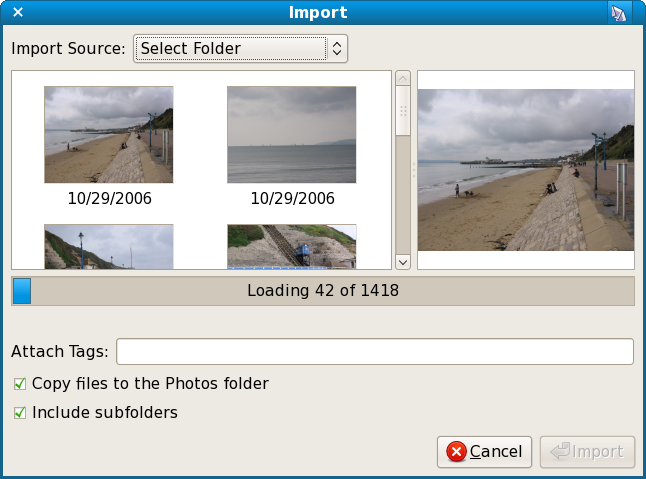 F-Spot importing 1400 photos