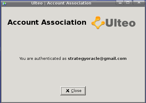 Ulteo Account Association completed window screenshot