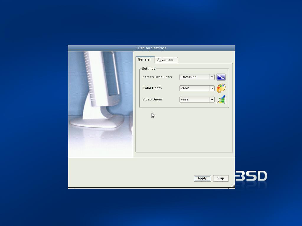 PC-BSD Display Settings screenshot