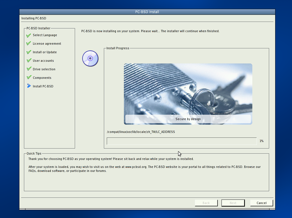 PC-BSD install file copy screenshot