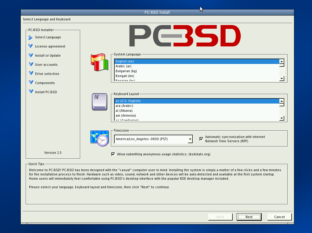 PC-BSD Installation screenshot