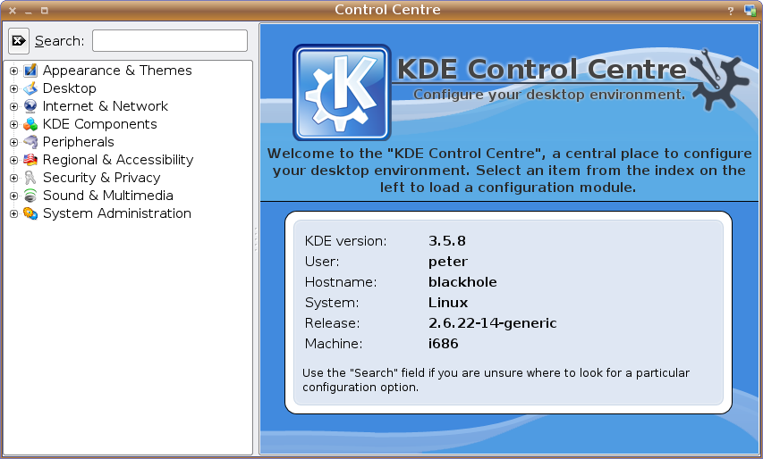 KDE Control Centre screenshot