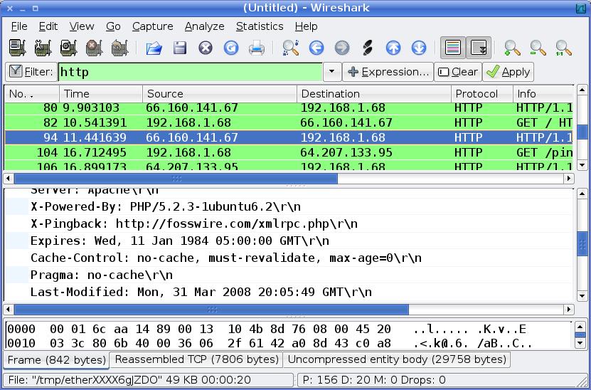 Wireshark analysis interface