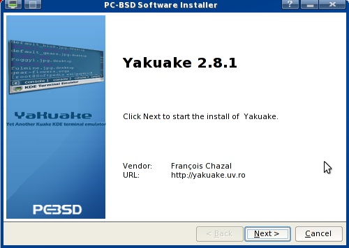 Installing Yakuake in PC-BSD screenshot