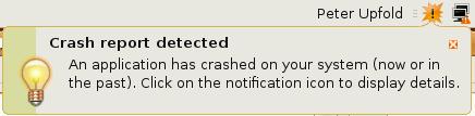 Ubuntu crash report screenshot