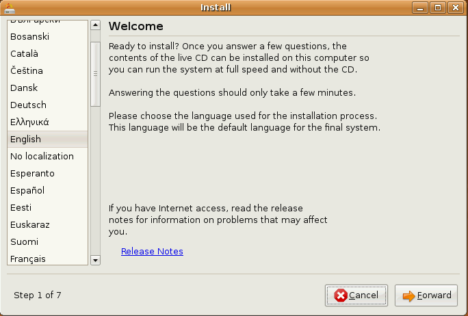Installer window in Ubuntu