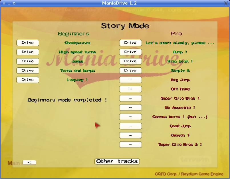 ManiaDrive menu