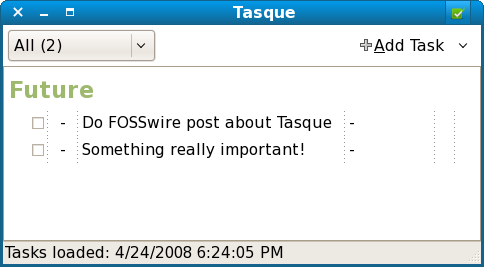 Tasque main window screenshot