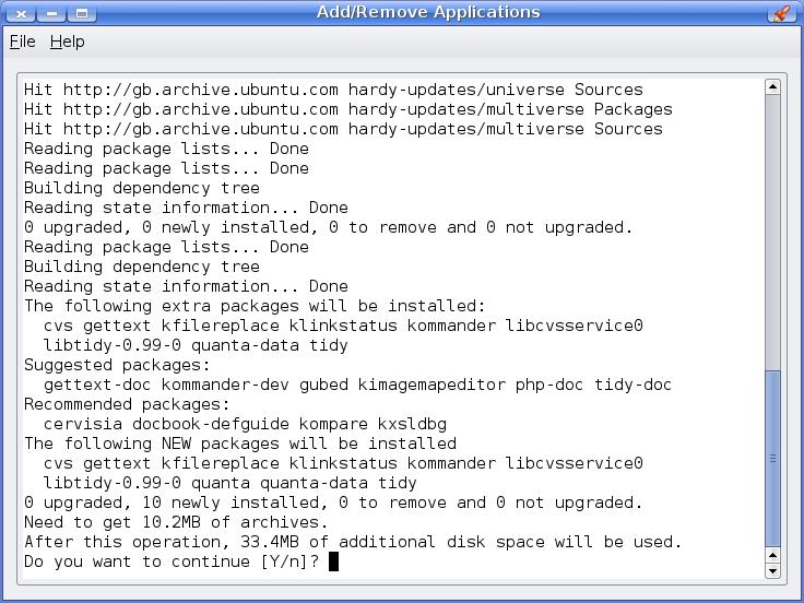 Command line apt inside a GUI window
