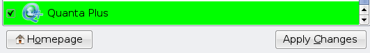 Green highlight on app tick