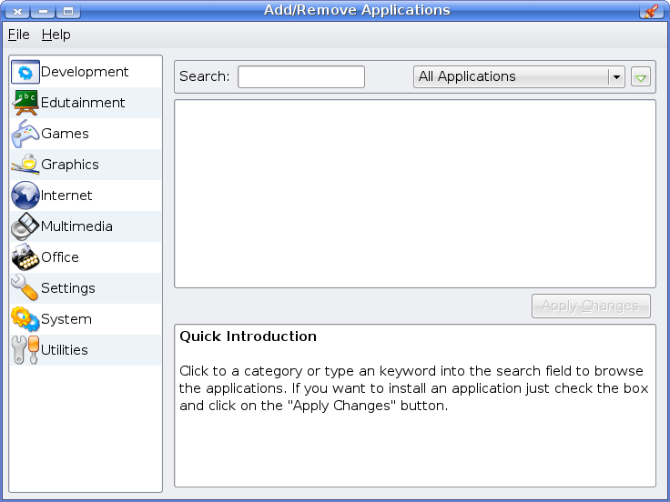 Main screen of KDE Software Installer