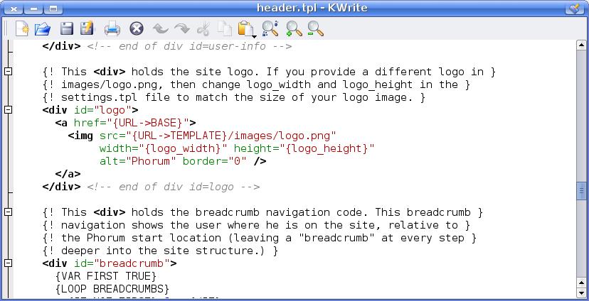 Phorum header.tpl file screenshot