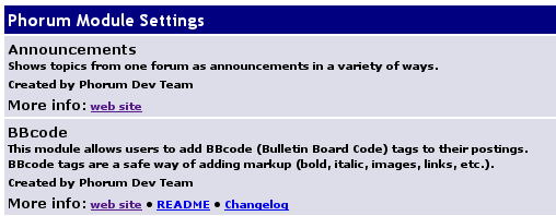 Phorum Module Settings page screenshot