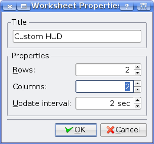 KSysGuard Worksheet Properties