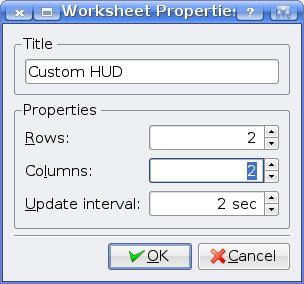 KSysGuard Worksheet Properties