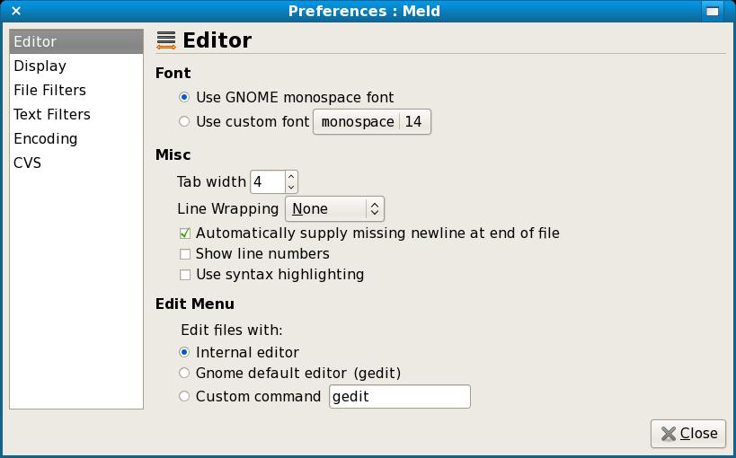 Meld Preferences screenshot