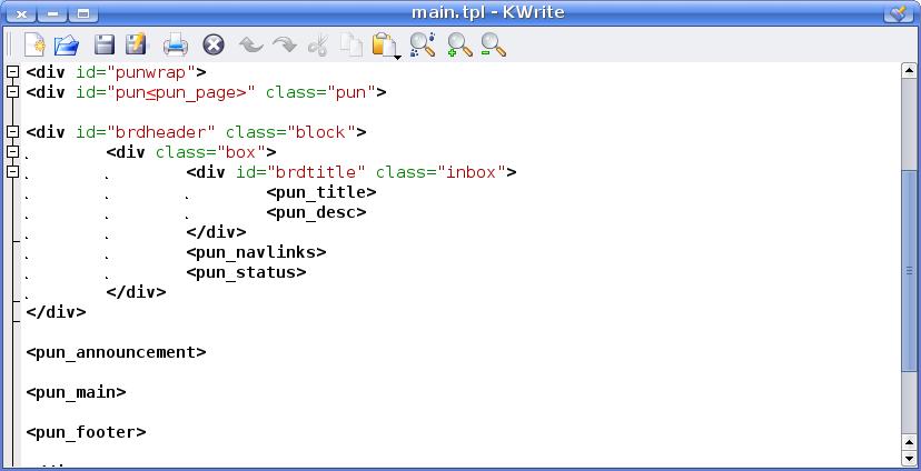 PunBB template file screenshot