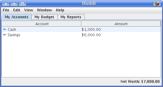 Buddi\'s basic interface