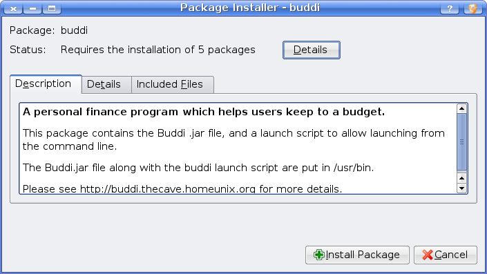Installing Buddi under Kubuntu Hardy