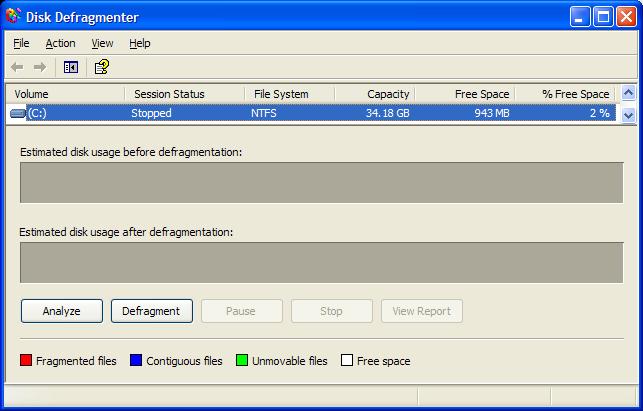 Disk Defragmenter under Windows XP