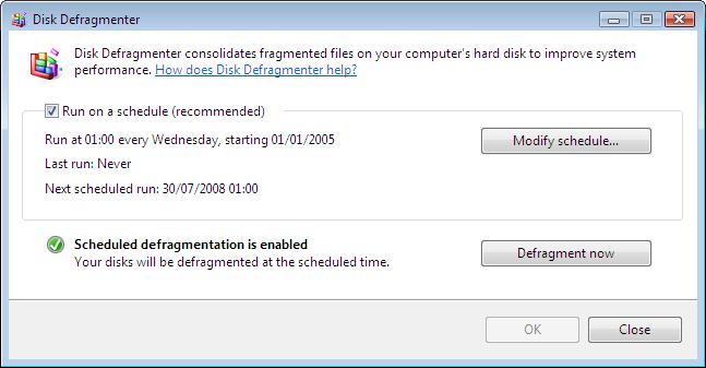 Disk Defragmenter under Windows Vista
