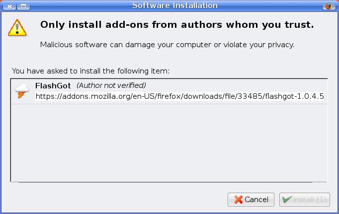 Install FlashGot Firefox extension permissions