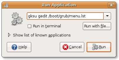 Run Application window
