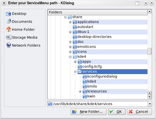 Service Menu Folder Selector