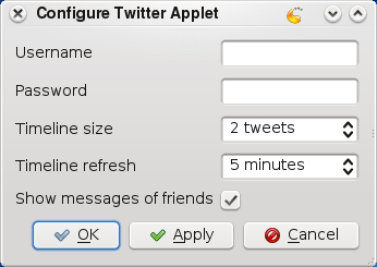 Configure Twitter Applet