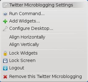 KDE Twitter Context menu