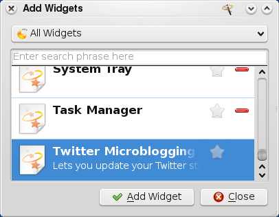 KDE Twitter - Add Widget