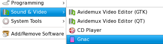 Gnac on GNOME menu