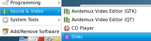 Gnac on GNOME menu