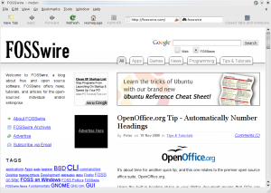 Midori showing the FOSSwire home page