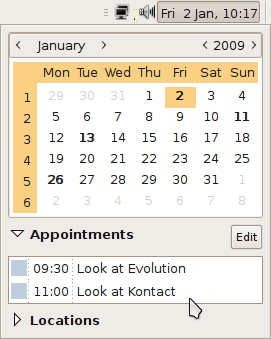 Calendar menu integration with Evolution