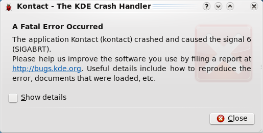 ICS Import Crash report