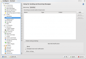 Kontact's Settings dialogue