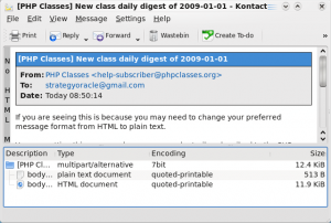 Kontact KMail Plain text message view